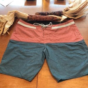 Salmon and Blue Swim trunks by Billabong